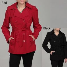 @Overstock - Stay fashionable while you stay warm with this belted women's polyester trench coat from London Fog. This fully lined coat has a double-breasted button front with two front pockets and will quickly become your go-to coat for work or play.http://www.overstock.com/Clothing-Shoes/London-Fog-Womens-Double-breasted-Belted-Trench-Coat/6362708/product.html?CID=214117 $38.99 london fog, red, fabul coat, trench coats