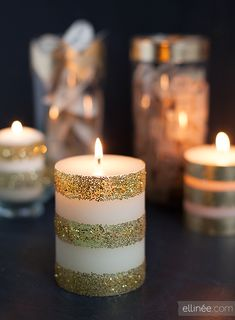 Glam up a simple candle with double stick tape and glitter -- DIY Candle