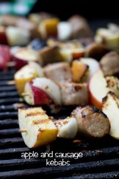 Kebabs with Apple and Sausage with Grainy Mustard and Honey