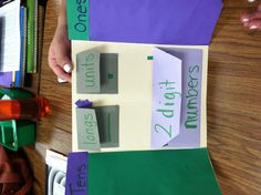 Envelopes and foldables in a lap book for teaching place value.