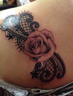 Rose lace tattoo. Girl tattoo. Flower. Shoulder tattoo. MINE :D