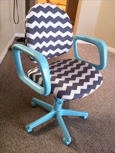 My DIY up cycled desk chair for my classroom!! All you need is spray paint, fabric, and a staple gun!