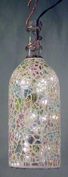mosaic glass, mosaic garden, bottle lights, yard party, bottl light, recycled bottles, garden bottl, wine bottles, glass garden