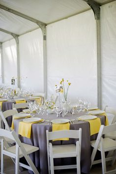 Ooo...if I have a sit down reception then I love the gray linens and simple yellow napkins.