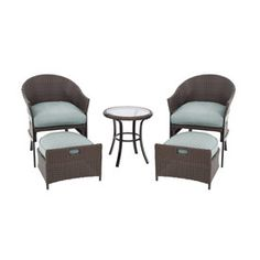 Garden Treasures 5-Piece South Point Brown Steel Patio Conversation Set with Solid Blue Cushions