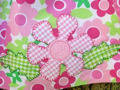 pink and green gingham flower