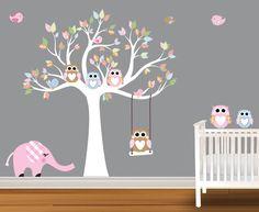 pink elephant  nursey wall decal