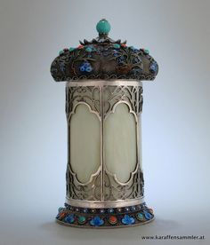 Chinese export silver white jade filigree tea caddy