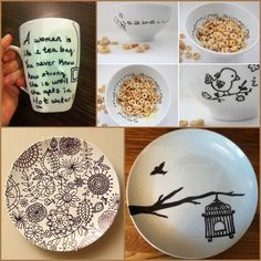 sharpie dishes - 1. Buy plates from Dollar Store 2. Write things with a Sharpie 3. Bake for 30 mins in a150 oven and its permanent! Put recipe on, give as gift, they keep the recipe plate! Cute idea!