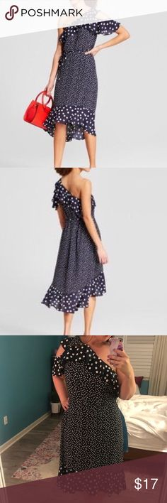 ✨A NEW DAY✨ Navy White Polka Dot High Low Dress Never worn.  Super cute, just too big for me now. a new day Dresses High Low