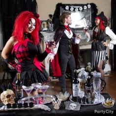 "Whip up a chilling ""black & bone"" themed bar and décor for a gothic-chic Halloween party for adults."