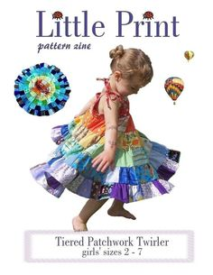 INSTANT DOWNLOAD Girls Dress PDF Sewing Pattern Tiered Patchwork Twirler by Little Print Designs