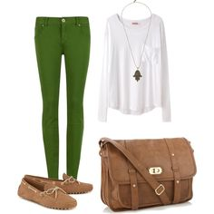 nice outfit, green jeans, fall cloth