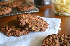"""Oats, chocolate chips, cherries, walnuts, pepitas, ginger, and coconut.  The Double Chocolate """"Everything"""" Cookie. Gluten- and Oil-Free.  An Unrefined Vegan."""