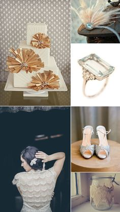art deco wedding style inspiration board    blog.tgkdesigns.com