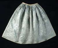 Woman's Quilted Petticoat    Made in Philadelphia, Pennsylvania, United States, North and Central America  c. 1780    Artist/maker unknown, American. Worn by Rebecca Edghill Mifflin, American, born 1727.    Light blue silk satin, glazed ivory wool plain weave, unbleached wool batting; quilted in blue silk thread; silk plain weave ribbon; ivory linen plain weave; ivory cotton braided tape and multicolored striped plain weave tape (not original)  Length: 38 inches Lower Edge: 109 inches