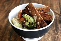 Roasted Vegetable Tahini Rice Bowl - soy division.