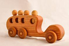 Wooden Toy Bus Organic Cherry Passenger Car - $23.00