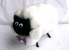 Lamb craft for B - made out of cardboard tissue tube and cotton balls
