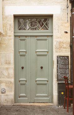 Paris Door Photography - Mint Green Doors in Paris France - Cafe Pause - Chalkboard Menu - Kitchen wall art - office art