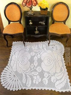 Beautiful filet rug, lot of work but beautiful, there is a chart for  this.  Not sure I would put it on my floor. Maybe as the center to a bedspread or over a plain color bedspread, maybe a wall hanging.........
