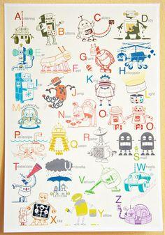 Cute robot themed alphabet alphabet rooster!
