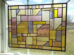 Abstract Stained Glass Transom Window Contemporary Divider Suncatcher Panel