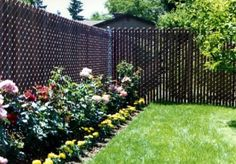 Chain link fence with privacy slats.