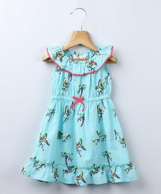This Turquoise Parrot Dress - Infant, Toddler & Girls is perfect! #zulilyfinds