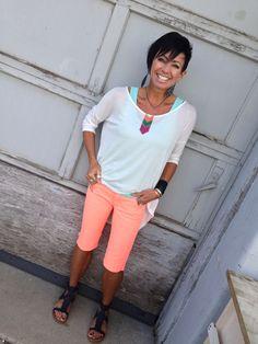 Neon Bermuda shorts, hilo top, accessories too @karmaboutiqueonmain 8017961121