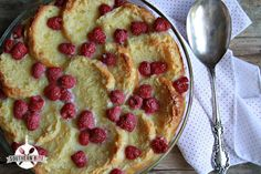 White Chocolate Raspberry Biscuit Bread Pudding