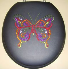 CloudSoft padded toilet seat. Butterfly Embroidery on Black hand-upholstered padded seat.