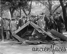 """We think modern car accidents are a mess! This Library of Congress photo from 1923 is labeled as being """"Assistant P.M.S. Barlett's car"""". I don't know who Bartlett was, but I hope he wasn't driving!  Original post: http://www.ancientfaces.com/research/photo/1234012/asst-pms-bartletts-car-family-photo"""