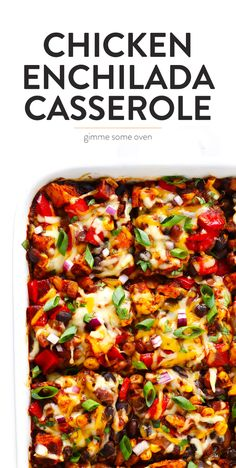 LOVE this easy Chicken Enchilada Casserole recipe! It's made with the best homemade enchilada sauce, and layered with corn tortillas, cheese, beans, and your favorite fillings. The perfect Mexican dinner recipe! | Gimme Some Oven #mexican #chicken #enchilada #casserole #dinner #glutenfree