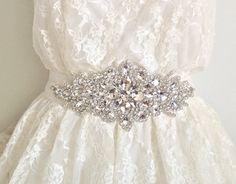 DIANA - Rhinestone sash, bridal crystal belt, dramatic wedding sash - ships in 1 week. $140.00, via Etsy.