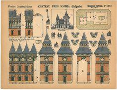 vintag printabl, putz hous, paper craft, papercraft castl, castles