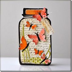 card idea, fabul shape, mason jar cards, shaped cards, paper, butterfli jar, shape card, mason jars, jar stamp