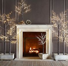 For next year. restoration hardware, tree, fireplac, color, christmas decorations, winter wonderland, branch, light, the holiday