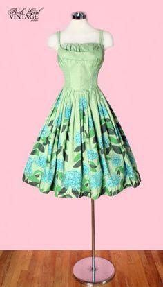 1950's Green Hawaiian Print Tea Length Dress