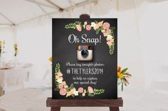 Custom Wedding Photo Sign Printable // Instagram Sign // Hashtag Sign $10