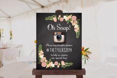 Custom Wedding Photo Sign Printable // Instagram Sign // Hashtag Sign $10