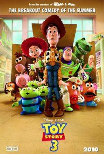 A review by Liz - Toy Story 3. While watching this, I almost forgot I was watching a cartoon. The story is great and so are the toys. I enjoyed this movie so much. Definitely an A+ movie. I give it 5 toy aliens (instead of stars).