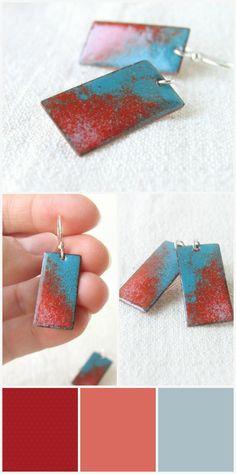 Enamel earrings teal blue orange dangle artisan jewelry by alery, $32.00
