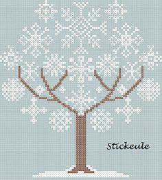 snowflake tree cross stitch chart
