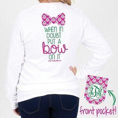 Monogrammed Ikat Put A Bow On It Long Sleeve Pocket T-Shirt - Size MEDIUM