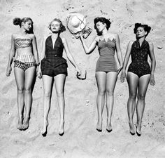 vintage swimsuits, beaches, style, vintage summer, beach fashion, bathing beauties, 1950, sun, vintage bathing suits