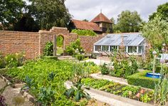 A lovely potager walled garden with a greenhouse which anyone would love to have.  This garden is designed by the talented team of Acres Wild. www.acreswild.co.uk