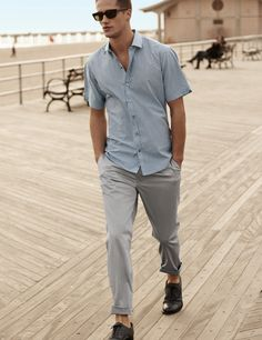 Gingham short sleeve button down with rolled up chinos. Great casual men's look for summer.