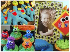Tons of cute ideas for monster party. Love the pinata,picture frame, and bean bag toss.