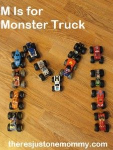 """""""M"""" is for monster truck!  Fun learning activities using monster trucks from There's Just One Mommy"""